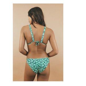 San Lorenzo Monstera print hipster strap bikini